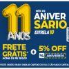 Estrela10 - Mês de Aniversário- cupom de descontos grátis de 5% na loja e Frete Grátis acima de R$ 300,00