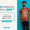 Chico Rei - oferta da loja - três camisetas por R$109,90