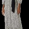 Vestido Longo Godê Manga Bufante cinza em liquidação na Hering