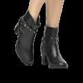Bota Couro Shoestock Curta Vira Cravinhos Metais Niquel Feminina preta com 20% de desconto extra na Shoestock