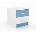 Criado Mudo 2 Gavetas If02az Branco Azul Evidencia Móveis
