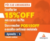 15% de desconto nos cursos de Pós-graduação EAD na Anhanguera