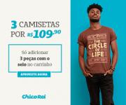 Três camisetas por R$ 109,90 na Chico Rei