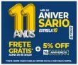 Mês de Aniversário: 5% de desconto na loja e Frete Grátis* acima de R$ 300,00 na Estrela10