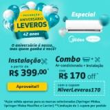 Aniversário 42 anos: R$ 170,00 de desconto na compra e na instalação do ar-condicionado na Leveros