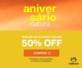 Aniversário: até 50% de desconto em Produtos Selecionados na Natura