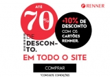 Até 70% de desconto + 10% extra com cartão da loja em todo o site na Renner