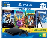 Compre Console PS4 Bundle Megapack 8 Family e ganhe Controle Dual Shock 4 branco glacial na Saraiva