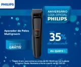 Aniversário: Aparador de Pelos Multigroom com 6 acessórios Philips MG3711/15 com 35% de desconto na Philips