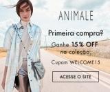 15% de desconto na primeira compra na coleção atual na Animale