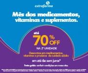 Mês dos Medicamentos, Vitaminas e Suplementos: até 70% de desconto na segunda unidade na Extrafarma