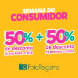 Semana do Consumidor: 50% de desconto no site + 50% de desconto na próxima compra na FotoRegistro