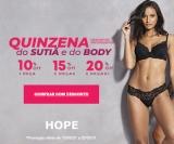 Quinzena do Sutiã e do Body com Desconto Progressivo: compre três ou mais peças e ganhe 20% de desconto na Hope