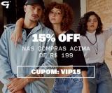 15% de desconto acima de R$ 199,00 em compras nas Lojas Gang