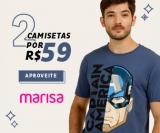 Leve duas camisetas masculinas por um preço na Marisa