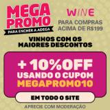 Megapromo: mais 10% de desconto nas compras acima de R$ 199,00 no Wine