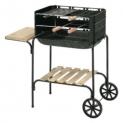 Churrasqueira Califórnia Mor em aço esmaltado, portátil, desmontável, com grade para utensílios, tábua para churrasco e rodas no Clube do Ricardo