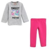 Conjunto Brandili Menina com escrita longo rosa e cinza em oferta da loja Tricae