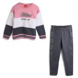 Conjunto Kyly Menina com escrita longo rosa e cinza em oferta da loja Tricae