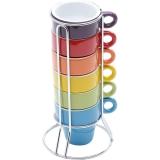 Jogo de Xícaras de Café 6 Peças com Suporte Coloridas – Bon Gourmet