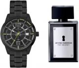 Kit com Relógio Technos Racer preto e Antonio Banderas The Secret Masculino EDT 100 ml em oferta da loja Relógio de Fábrica