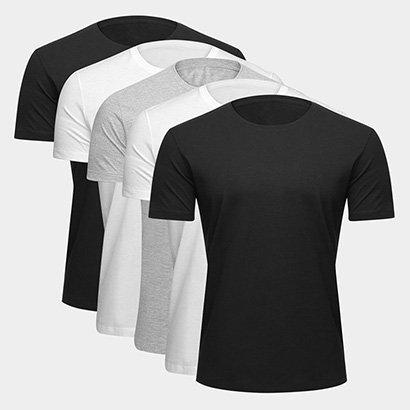 Kit Camiseta Básica c/ 5 Peças Masculina (Entregue por Netshoes)