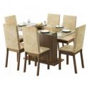 Mesa de Jantar Nanda com tampo de vidro e seis cadeiras Rustic cores bege e marrom na Dafiti