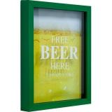 Quadro Beer Porta-Tampinhas Verde 22x27x3cm – Kapos