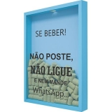 Quadro Porta Rolhas de Vinho Se Beber Não Poste 32x42x4cm Azul – Kapos