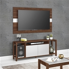 Rack com Painel para Televisão Kit Sala Tecno Mobili – Nogal e Branco (Entregue por )